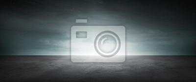 Obraz Dark Concrete Floor Background Infinite Horizon Sky Panoramic Scene