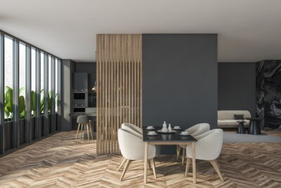 Obraz Dark modern dining room interior with panoramic window and partition