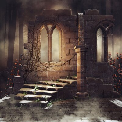 Obraz Dark scenery with old ruins and rose vines in a dark forest. 3Dmax