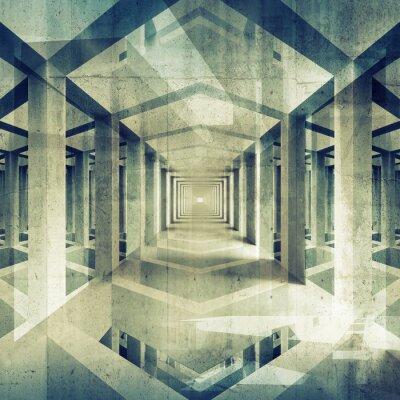 Obraz Dark streszczenie architektura 3d tła. Beton wnętrze