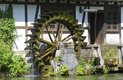Obraz Das Wasserad der Hammermühle am Blautopf