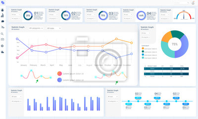 Dashboard, great design for any site  purposes. Business infographic template. Vector flat illustration. Big data concept Dashboard user admin panel template design. Analytics admin dashboard.