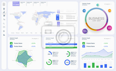 Dashboard, great design for any site purposes. Business infographic template. Vector flat illustration. Big data concept Dashboard user admin panel template design. Analytics admin dashboard
