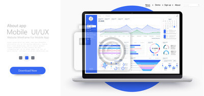Dashboard, great design for any site purposes. Business infographic template. Vector flat illustration. Big data concept Dashboard user admin panel template design. Analytics admin dashboard. Flat