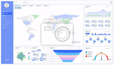 Dashboard, great design for any site purposes. Business infographic template. Vector flat illustration. Big data concept Dashboard user admin panel template design. Analytics UI, UX admin dashboard