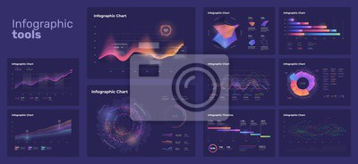 Dashboard infographic template with big data visualization. UI elements and pie charts, workflow, web design.