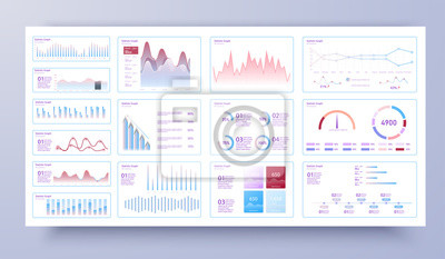 Dashboard infographic template with modern design annual statistics graphs. Information analysis for business, data in visual representation. Info charts schemes diagrams. Vector
