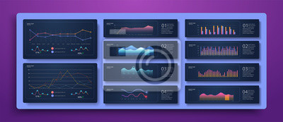 Dashboard infographic template with modern design weekly and annual statistics graphs. Analytics infographics ui stats graph futuristic diagram vector concept