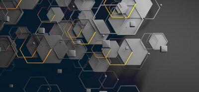 Obraz Datos en la nube y red.Concepto de ciencia y tecnología.Malla y formas geométricas