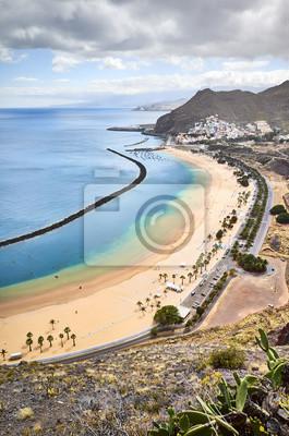 De Las Teresitas beach in San Andres from above, Tenerife, Spain.