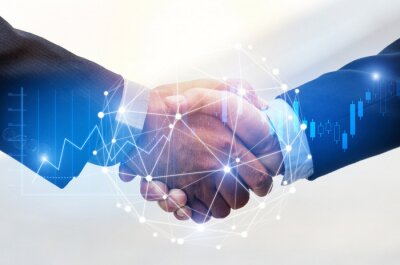 Obraz Deal. business man shaking hands with effect global network link connection and graph chart of stock market graphic diagram, digital technology, internet communication, teamwork, partnership concept