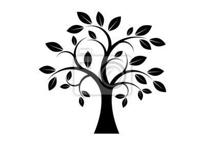 Obraz Decor Tree black silhouette clip art. Tree isolated on white background. Tree silhouette vector. Deciduous Tree vector. Simple Tree icon vector
