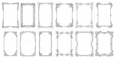Obraz Decorative frames. Vintage calligraphic antique borders. Ornate calligraph rectangle frames, wedding elegant ornamental borders and filigree floral ornaments for framed certificate template