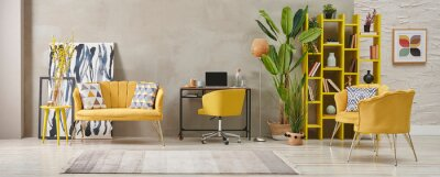 Obraz Decorative grey stone wall living room, home interior concept with yellow sofa chair and bookshelf, big green vase of plant carpet.