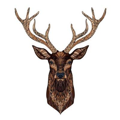 Deer head stylizowany zentangle stylu.
