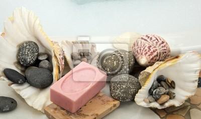 Dekoracja W łazience Mydło Muszle I Kamienie Obrazy Redro