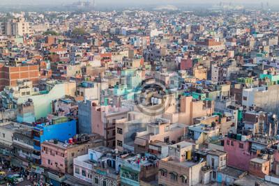 Obraz DELHI INDIA, PAŹDZIERNIK, - 22, 2016: Widok z lotu ptaka Stary Delhi, India.