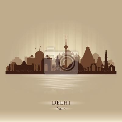 Obraz Delhi Indie sylwetka miasta sylwetka wektor