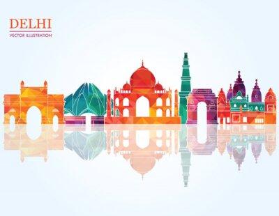 Obraz Delhi skyline Szczegółowa sylwetka. ilustracji wektorowych
