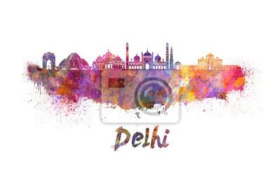 Obraz Delhi skyline w akwarela
