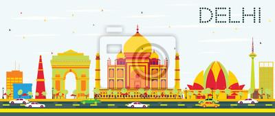 Obraz Delhi Skyline z kolorowa Budynki i błękitne niebo.
