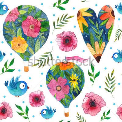 Obraz Delikatny akwarela romantyczny wzór z balonów powietrzem, kwiatami, sercami i ptakami, wspaniałymi na ślub, Walentynki i inne święta