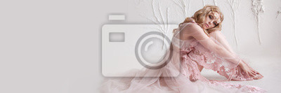 Obraz Delikatny portret młodej dziewczyny model. Wizerunek panny młodej, lekka koronkowa sukienka w kolorze różowym, piękna fryzura i naturalny makijaż. Lekkie studio fotograficzne, naturalne światło z okna