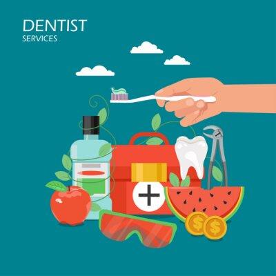 Dentysta usługa mieszkania stylu projekta wektorowa ilustracja