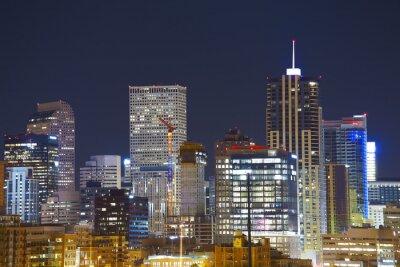 Denver Downtown Skyline w nocy, Colorado, USA