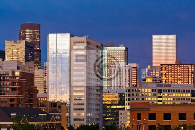 Denver Skyline o zmierzchu
