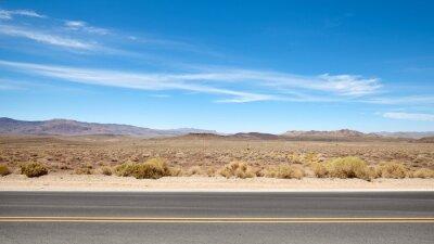 Desert road landscape in Death Valley, US.
