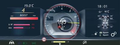 Deska rozdzielcza samochodu, obrotomierz, nowa technologia. Fantastyczne tło abstrakcyjne z różnymi elementami HUD