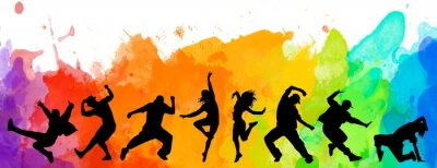Obraz Detailed illustration silhouettes of expressive dance colorful group of people dancing. Jazz funk, hip-hop, house dance. Dancer man jumping on white background. Happy celebration