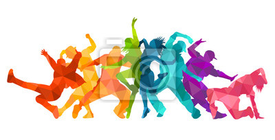 Obraz Detailed vector illustration silhouettes of expressive dance colorful group of people dancing. Jazz funk, hip-hop, house dance. Dancer man jumping on white background. Happy celebration