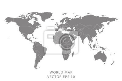Obraz Detailed world map with borders of states. Isolated world map. Isolated on white background. Vector illustration.
