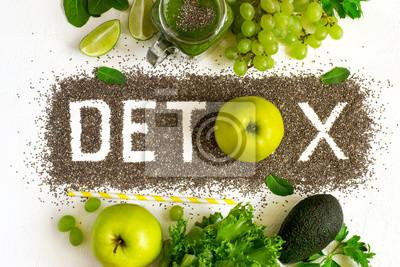 Obraz Detox wykonany jest z nasion z Chia. Zielone koktajle i składnik