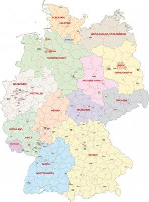 Obraz Deutschland, Bundesländer, Landkreise, Kreisfreie Städte