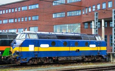 Diesel locomotive at Amersfoort station in the Netherlands