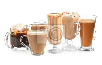 Obraz Different kinds of coffee drinks on white background