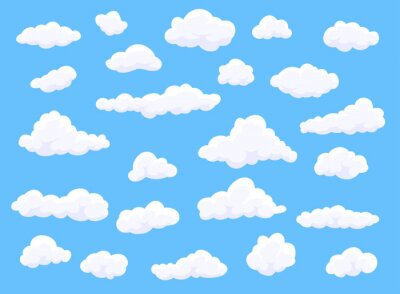 Obraz Different shape cartoon white clouds on blue background. Vector decoration element.