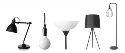 Obraz Different stylish lamps on white background