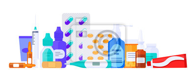 Obraz Different types of medicaments, drugs, pills and bottles. Flat vector illustration isolated on white. Healthcare items.