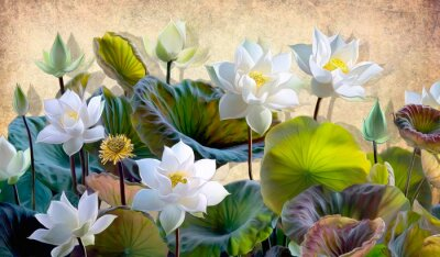 Obraz Digital illustration of a blooming white Lotus flowers with green leaves on a background of beige walls in the loft. Wallpapers and murals for interior printing.