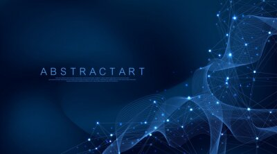 Obraz Digital network connection abstract background. Artificial intelligence and engineering technology. Big Data visualization. Global networks, Lines plexus, minimal array. Vector illustration.