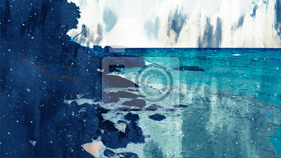 Digital painting of sea beach by brushed texture, illustration texture for background