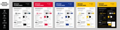 Obraz DIN A3 Brand Guidelines Poster Layout Set, Brand Manual Templates, Simple style and modern layout Brand Style, Brand Identity, Brand Guidelines