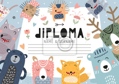 Diploma template with forest animals for kids, certificate background with hand drawn cute fox, llama, bear, deer, badger and hedgehog for school, kindergarten. Vector illustration. Place for text.