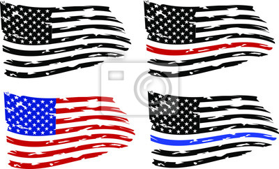 Obraz Distressed american flags eps10 Clip Art,