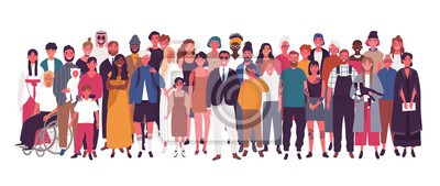 Obraz Diverse multiracial and multicultural group of people isolated on white background. Happy old and young men, women and children standing together. Social diversity. Flat cartoon vector illustration.