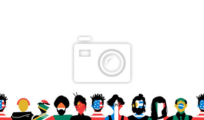 Obraz Diverse people background with country flag